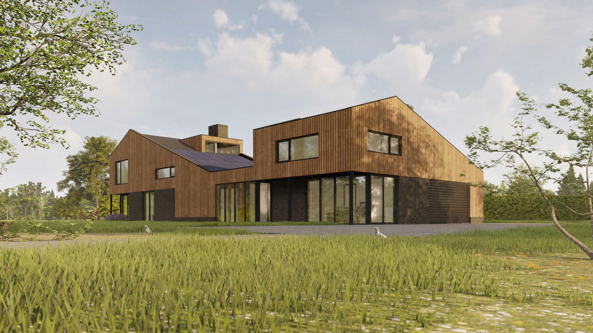 Visualisatie woning met lessenaar dak