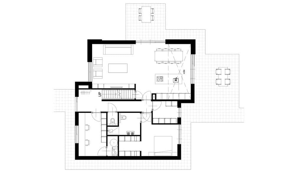 Plattegrond moderne woning begane grond