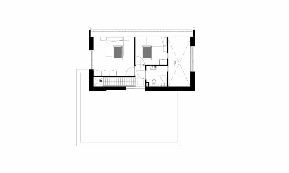 Plattegrond moderne woning eerste verdieping