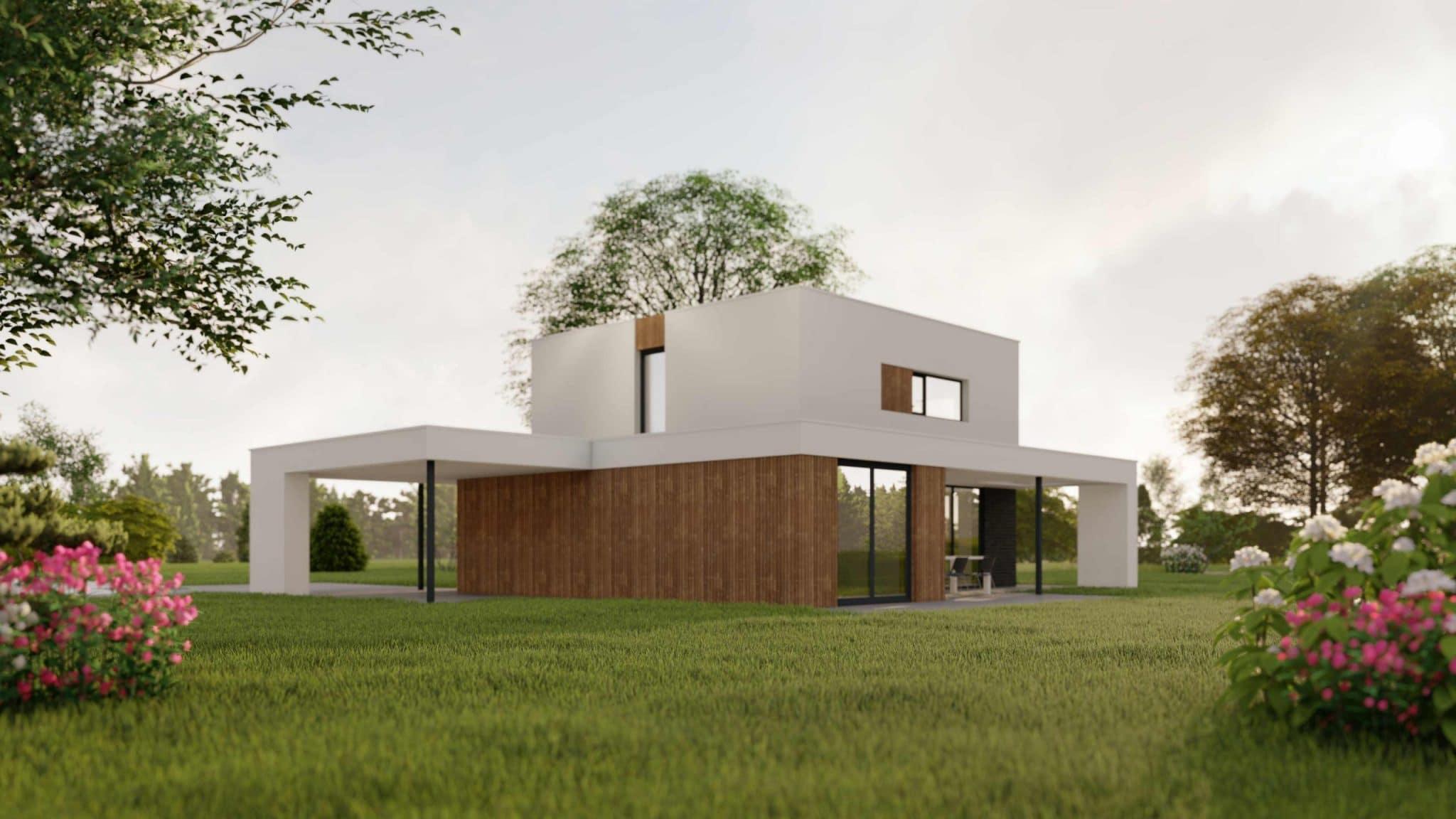 Aanzicht moderne villa (2)