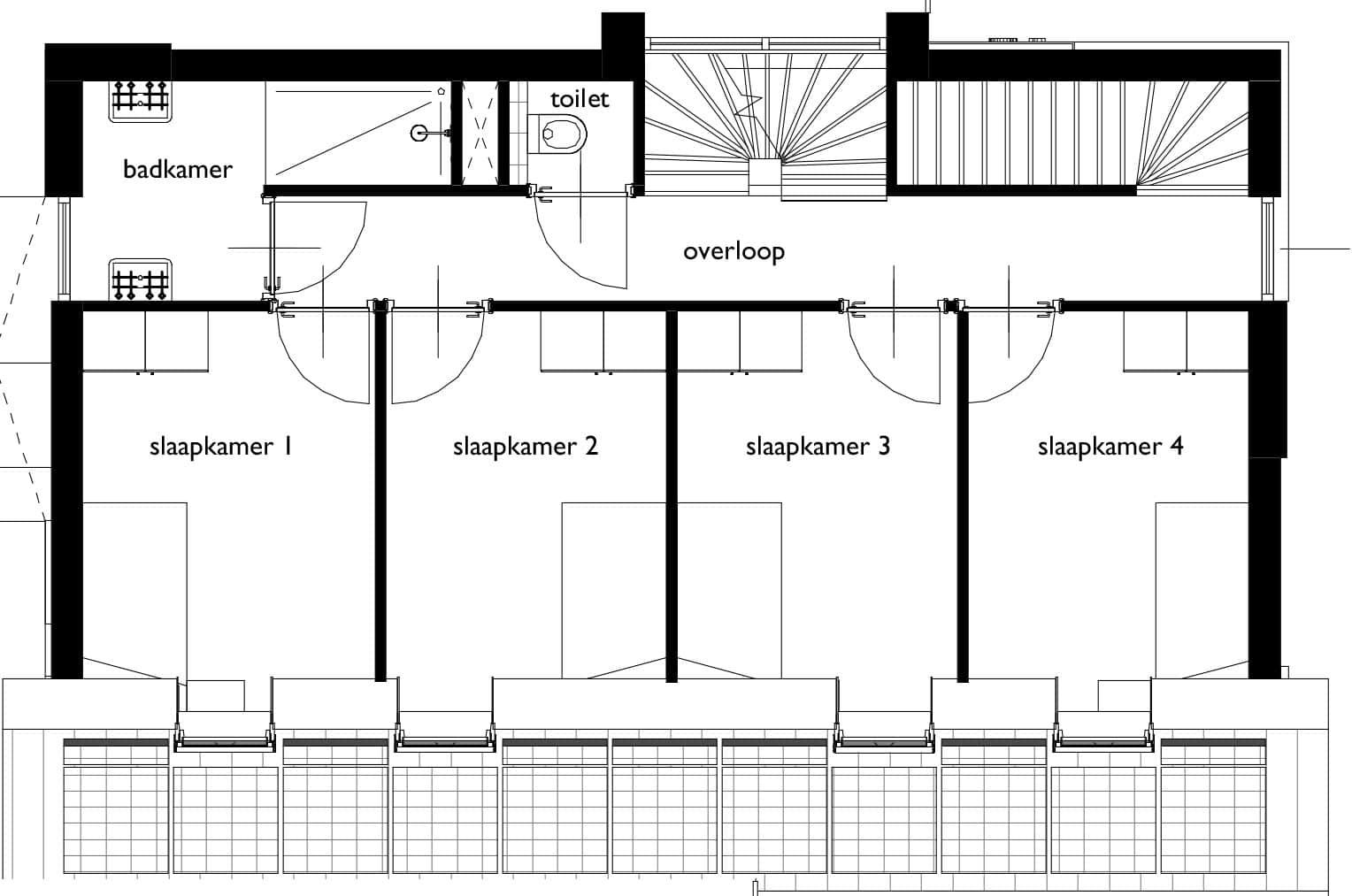 Plattegrond tijdloze woning eerste verdieping