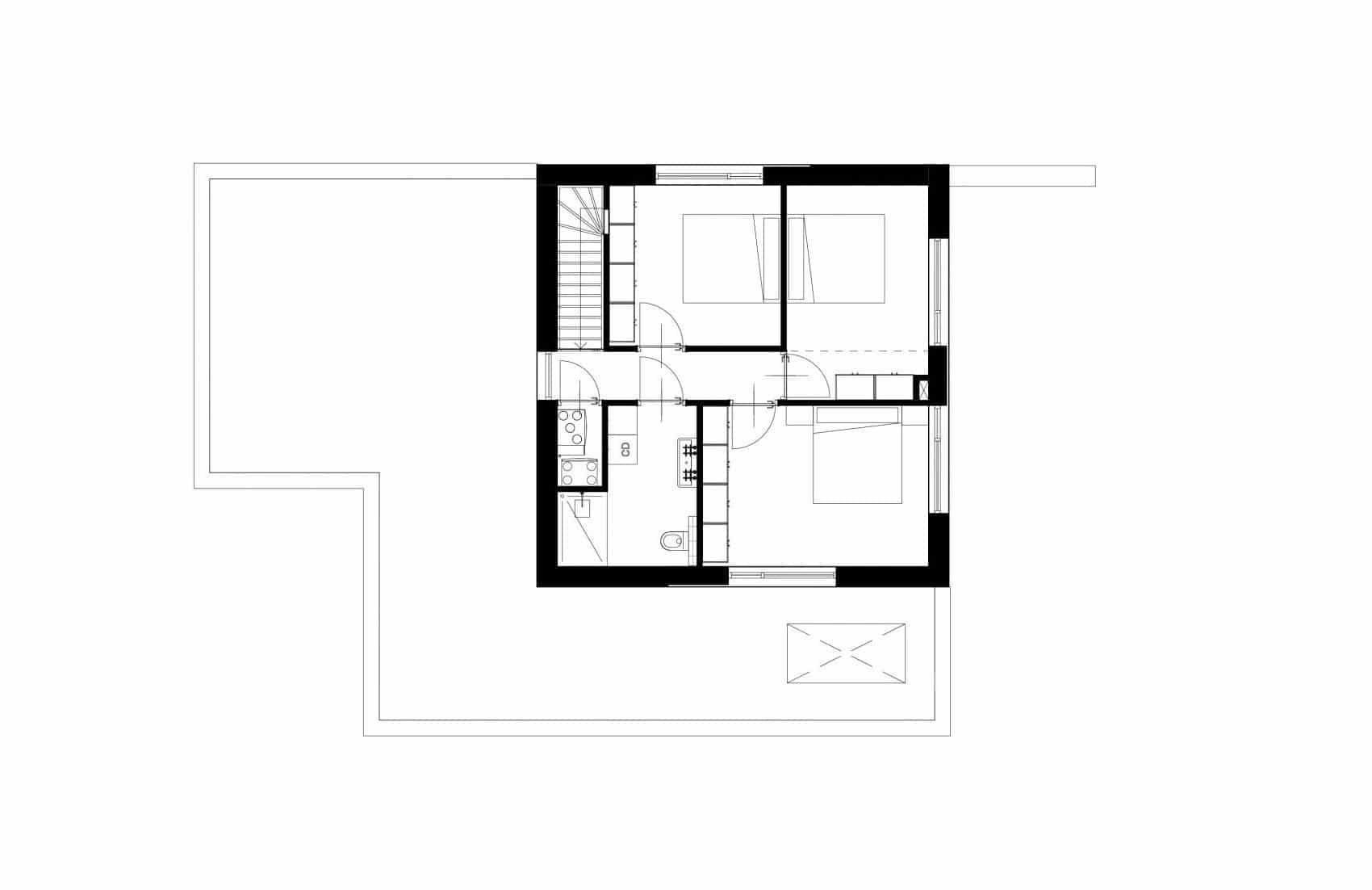Moderne kubuswoning plattegrond eerste verdieping