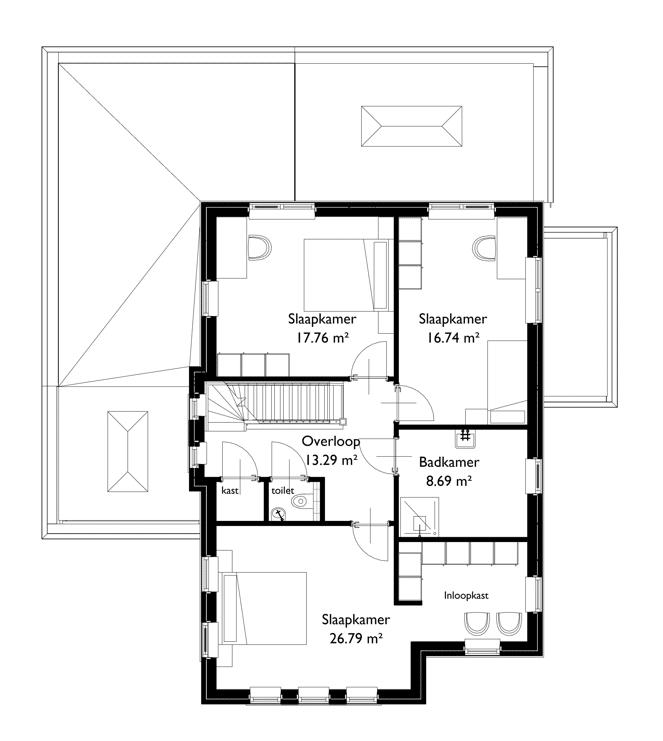 Plattegrond jaren 30 woning eerste verdieping
