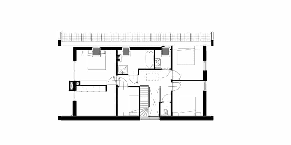 Plattegrond moderne schuurwoning eerste verdieping