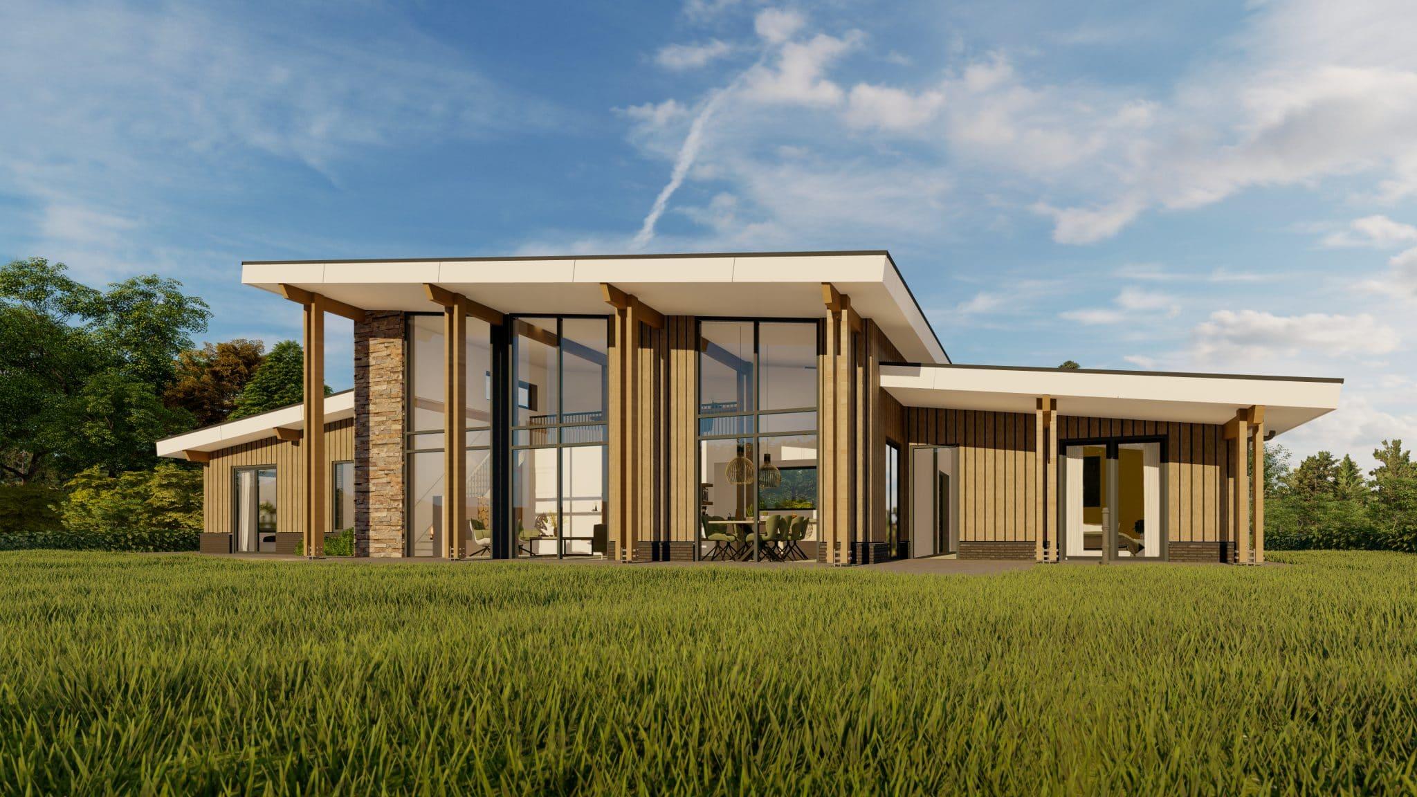 Visualisatie landhuis Amerikaanse stijl vooraanzicht