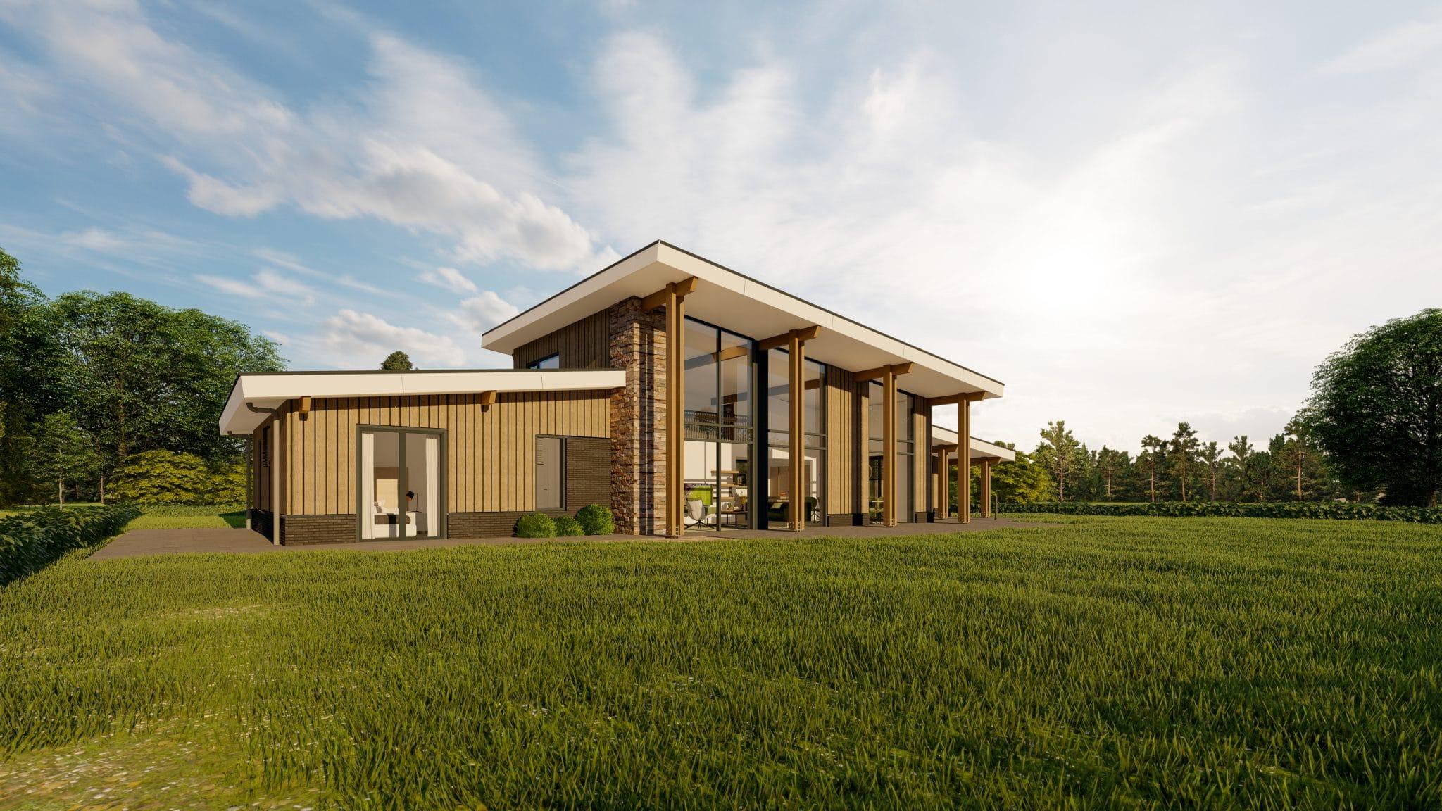 Visualisatie landhuis Amerikaanse stijl zijaanzicht