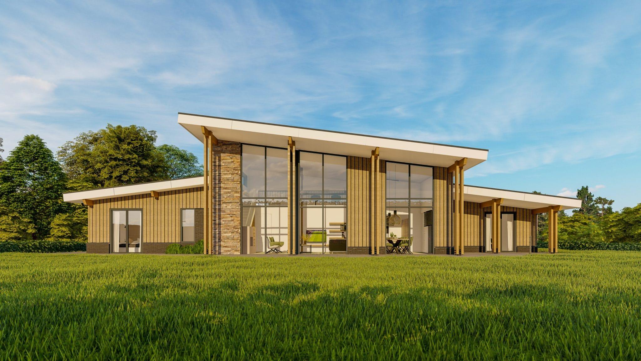 Visualisatie landhuis Amerikaanse stijl voorgevel