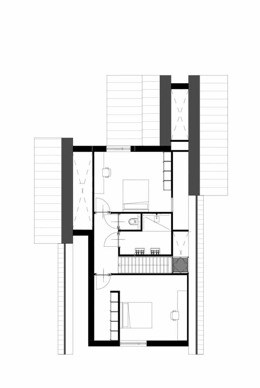 Plattegrond boerderijwoning eerste verdieping